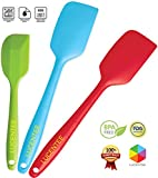 Lucentee 3-Piece Silicone Spatula Set - 2 Large & 1 Small Heat Resistant Cooking Utensils