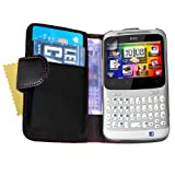 Black PU Leather Wallet Flip Case Cover Magnetic Close For The HTC ChaCha With Cash Card Slots And Screen Protector Filmby Yousave