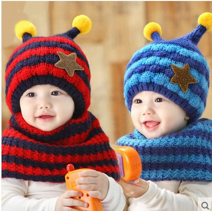 Hy41 Bees Style Striped Boys Girls Knitted Hats Winter 2 Pcs Baby Scarf Hat Set (Blue)