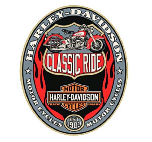Harley-Davidson® Tin Sign. Classic Ride Harley-Davidson, Oval. 13 X 16-Inches. 2010741