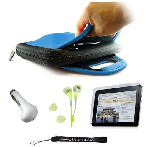 Carrying Case for the Apple iPad + Includes a High Quality and Durable Anti Glare Screen Protector, will prevent from any scratches and dirt going to your iPad Touch Screen + Includes a Car Charger and High Quality Earphones Headphones