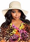 Ashley Stewart Womens Plus Size Straw Floppy Hat