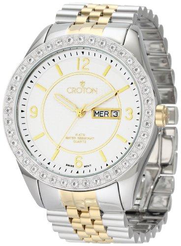 Croton Men's CN307279TTSL Swiss Two-Tone White Topaz Bezel Watch