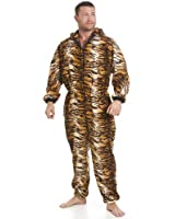 Camille Classic Mens All In One Tiger Print Fleece Pocketed Pyjama Onesie