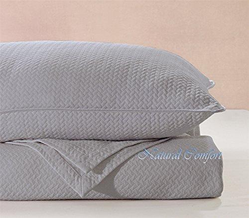 Natural Comfort Matelasse Blanket Coverlet, Herringbone Pattern, Queen, Light Grey