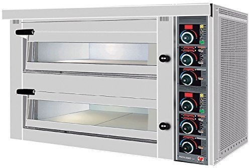 North Pro Gas FPD 152 Commercial Electric Twin Deck Pizza Oven with Fire Resistant Plate - 6+6 pizza Ø360mm (400V-AC-3N-50Hz) (Made in Greece)