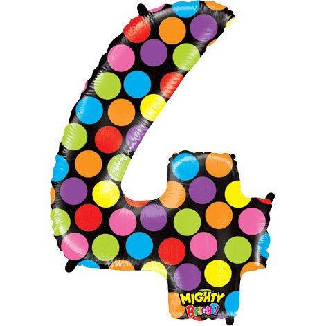 "Number Four Mighty Bright Polka Dot Megaloon 40"" Mylar Foil Balloon"
