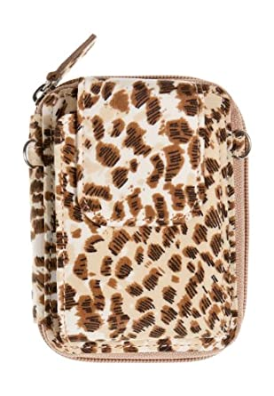 WalletBe Women's Microfiber Cell Phone Accordion ID Wristlet Wallet Small Leopard