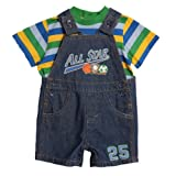 Baby Togs Infant Baby Boys 2 Piece Striped T-Shirt Denim Overalls Shorts Set