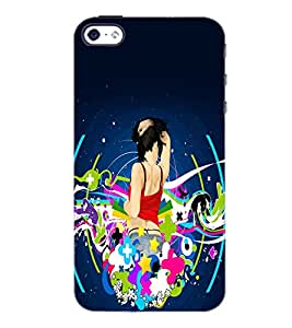 PrintDhaba Music Girl D-1148 Back Case Cover for APPLE IPHONE 4 (Multi-Coloured)