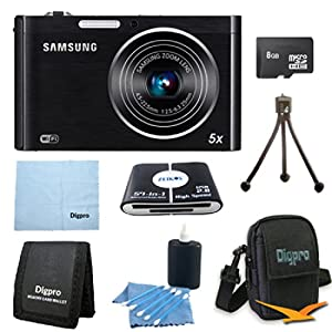 Samsung DV150F 16.2 -megapixel DualView Digital Camera Bundle Includes 8 GB Memory Card, Card Reader, Deluxe Carrying Case, Mini Tripod, and 3Pcs. Lens Cleaning Kit.