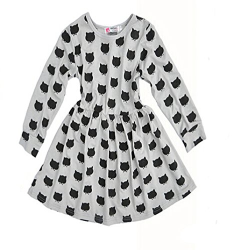 Jastore® Cute Little Girls' Long Sleeve Cat Dotted Princess Cotton Tutu Dress Skirt (110: 105-115cm for 4-5Y)