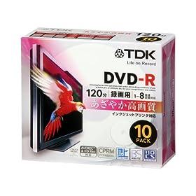 【クリックで詳細表示】TDK 録画用DVD-R デジタル放送録画対応(CPRM) ホワイトワイドプリンタブル 1-8倍速 5mmスリムケース 10枚パック DR120DPWB10U: パソコン・周辺機器