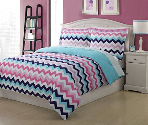 Full Microfiber Kids Chevron Bedding Comforter Set (Kid Bedding Full compare prices)
