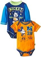 Disney Baby-Boys  Mickey Mouse 2 Pack Bodysuit Set, Navy, 0-3 Months