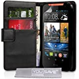 Yousave Accessories PU Leather Wallet Cover Case for HTC Desire 310 - Black