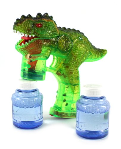 Jurassic T-Rex Dinosaur Battery Operated Toy Bubble Blowing Gun w/ 2 Bottles of Bubble Liquid (Colors May Vary) the dinosaur island jurassic infrared remote control electric super large tyrannosaurus rex model children s toy