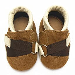 Sayoyo Baby Strap Soft Sole Leather Infant Toddler Prewalker Shoes (12-18 months, Brown)