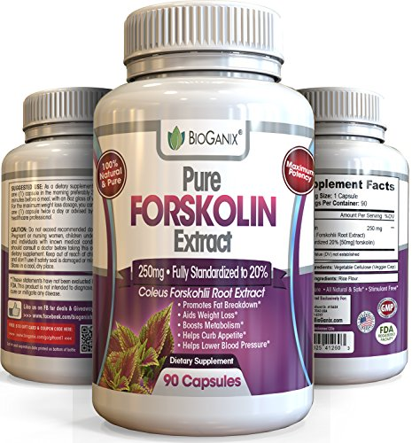 #1 Best Forskolin Pure Extract 250mg *Maximum Strength Belly Buster* 90 Capsules Premium Research Verified Coleus Forskohlii Weight Loss Supplement Fully Standardized to Superior to 125mg