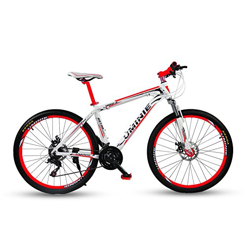 Umini アルミニウム合金 自転車 シマノ 21 段変速 26インチ マウンテンバイク MTB フロントサスペンション シマノ21段変速 前後機械式ディスクブレーキ ライト (白いと赤い)