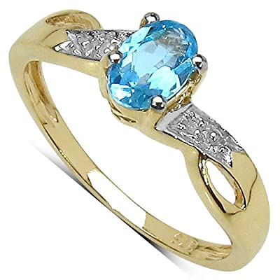 The Diamond Ring Collection: 9ct Gold Oval Blue Topaz Engagement Ring with Diamond Set Shoulders (Size K)