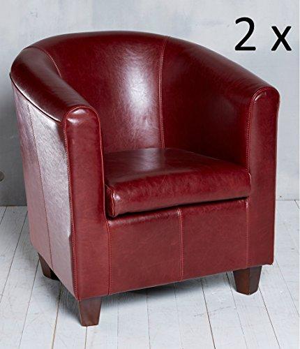 2x-Hochwertiger-Sessel-Echtleder-Bordeaux-Rot-Sessel-Clubsessel-Leder-Loungesessel-Cocktailsessel-Rindsleder-Klassisch