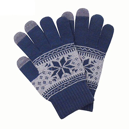 Jenny Shop Knitted Jacquard Touchscreen Texting Gloves for Smartphones & Tablets, Outdoor Men's/Women's Warm Knit Winter Gloves - Navy Blue