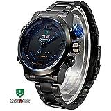 WEIDE Military Watches Men Luxury Brand Analog-digital LED Display Sporty watch JAPAN MIYOTA Quartz Wristwatch Multi-function LED Display, Blue Dial
