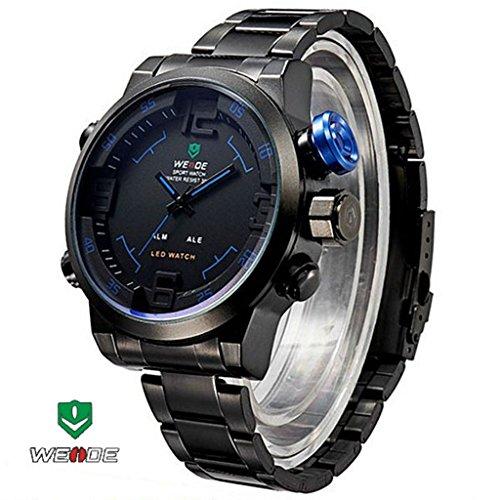 Weide 30M Waterproof Mens Analog Digital Dual Time Led Display Sport Wrist Watch With Stainless Steel Watchband/Date/Time/Alarm Function (Black+Blue)