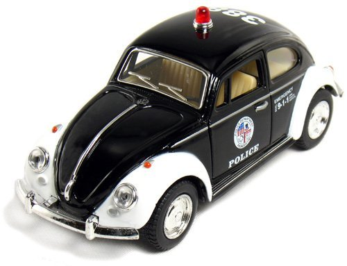 "5"" Classic Volkswage 1967 Beetle Police car 1:32 Scale (Black/White) by Kinsmart"