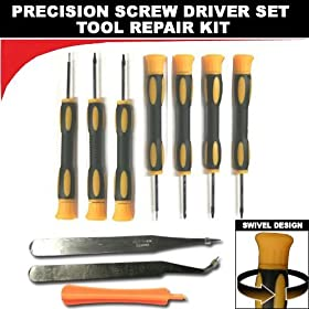 (10 Items Combo) Tool Repair Kit Precision Screw Driver Set Torx + Flat Head + Safe Plying Prying Pry Tool for Motorola Verizon Sprint Att Cingular Razr Razorand More