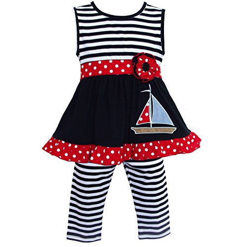 AnnLoren Boutique Striped Sailor Tunic and Leggings Outfit Nautical Clothing
