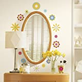RoomMates RMK1170SCS Graphic Flowers Peel & Stick Wall Decals, 61 Count ~ RoomMates