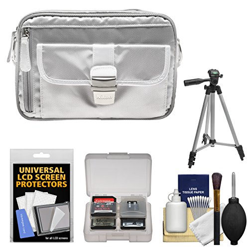 Nikon 1 Series & Coolpix Deluxe Digital Camera Case (Gray) with Tripod + Kit for 1 S2, J4, V3, AW1, Coolpix L830, L840, P530, P600, P610, P900