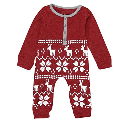 AMA(TM) Christmas Deer Baby Girl Boy Knit Romper Jumpsuit Bodysuit Outfits (6Month, Red)