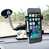 Amaz247 Double Clip 360 Rotating Flexible Car Mount Cell Phone Holder Stand Car Accessories for iPhone, Samsung, LG, Nexus, HTC, Motorola, Sony & Other Smartphones, Black