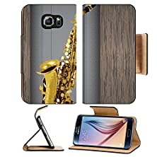 buy Msd Samsung Galaxy S6 Flip Pu Leather Wallet Case Saxophone Vintage For Text On Grunge Background Image 19337423