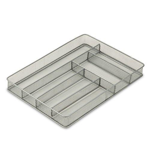 honey-can-do-kch-02162-6-compartment-mesh-organizer-per-utensili-posate-acciaio-argento