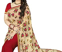 Pramukh saris Womens Georgette Printed Sari(Red)