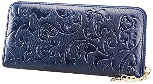 06. Heshe® Women's Fashion Purse Organizer Long Wallet Zippered Around Clutch Card Holder Money Clip Case with Morning Glory Pattern