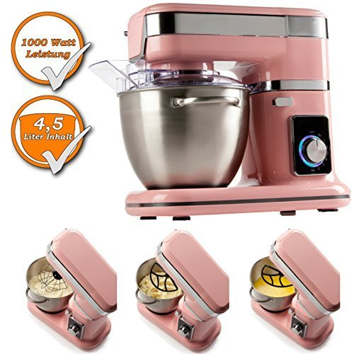 Professional Food Processor with planetary reduction gear incl. Snow broom, Stirring whisk, Kneading hook, color: pink