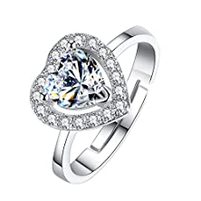buy Bamoer Women'S Fashion Heart Crystal Diamond Cubic Zirconia Cz Love Engagement Wedding Eternity Band Ring Size 7 To 8 (7)