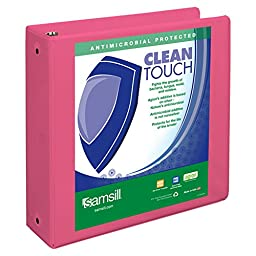 Samsill Clean Touch Round Ring  View Fashion Binder Protected by Antimicrobial Additive, 3 Ring Binder, 3 Inch, Customizable Clear View, Berry Pink