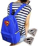 軽量! スーパーマン 風 デザイン リュック リュックサック バッグ 30×42×11cm ナイロン 通勤 通学 背中掛け 肩掛け カバン 鞄 ファッション レディース メンズ 旅行 ピアスセット【空縁…