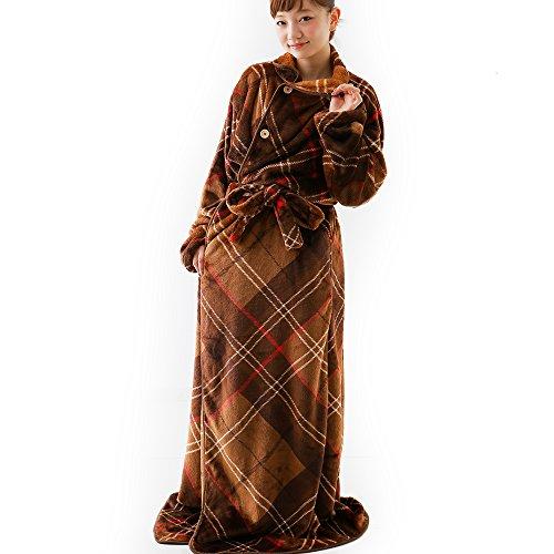 着る毛布 グルーニー Groony 2016ver 3サイズ シルキータッチ 静電気防止 レギュラー ブラウンチェック