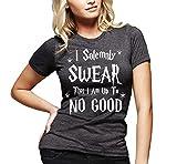 Juniors Solemnly Swear That I Am Up To No Good Funny T-Shirt Dark Heather Medium / Juniors Form Fit