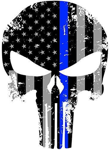 Best Prices! Tattered 5x4 Inch Subdued Us Flag Punisher Skull Reflective Decal with Thin Blue Line