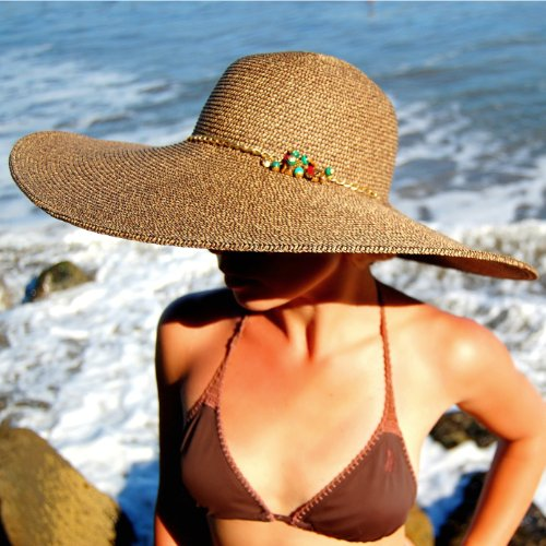 02032 Dashenka Co. Women's Wide Brim Hat (Beige) -- DUBAI Rubies, Malachite & Tiger's Eye