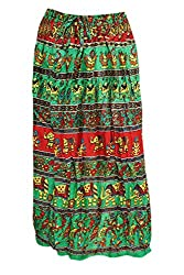 Indiatrendzs Women's Cotton Boho Skirts Red Green Printed Long Skirts