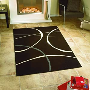 Contemporary Cheap Modern Retro Black Cream Rugs 3 Sizes